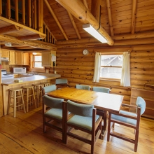 Here is the dining area in one of Lesnoe Ozero's cabins.