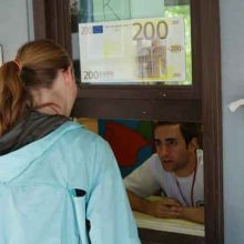 Exchange your dollars for Euros at the Bank.