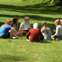 A språkgrupp (language group) meeting in the shade