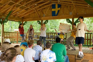 <p><i>Allsång </i>(singing time) in our outdoor dance pavilion.</p>