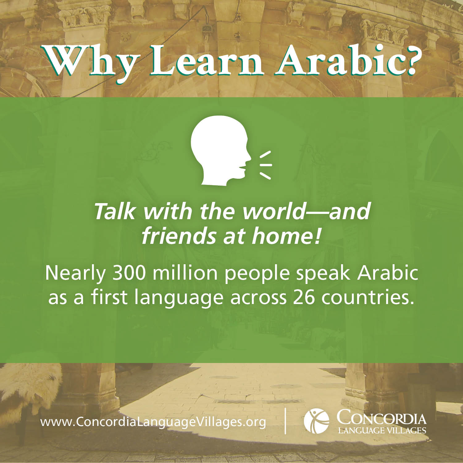 Why learn Arabic? Talk with the world--and friends at home! Nearly 300 million people speak Arabic as a first language across 26 countries.