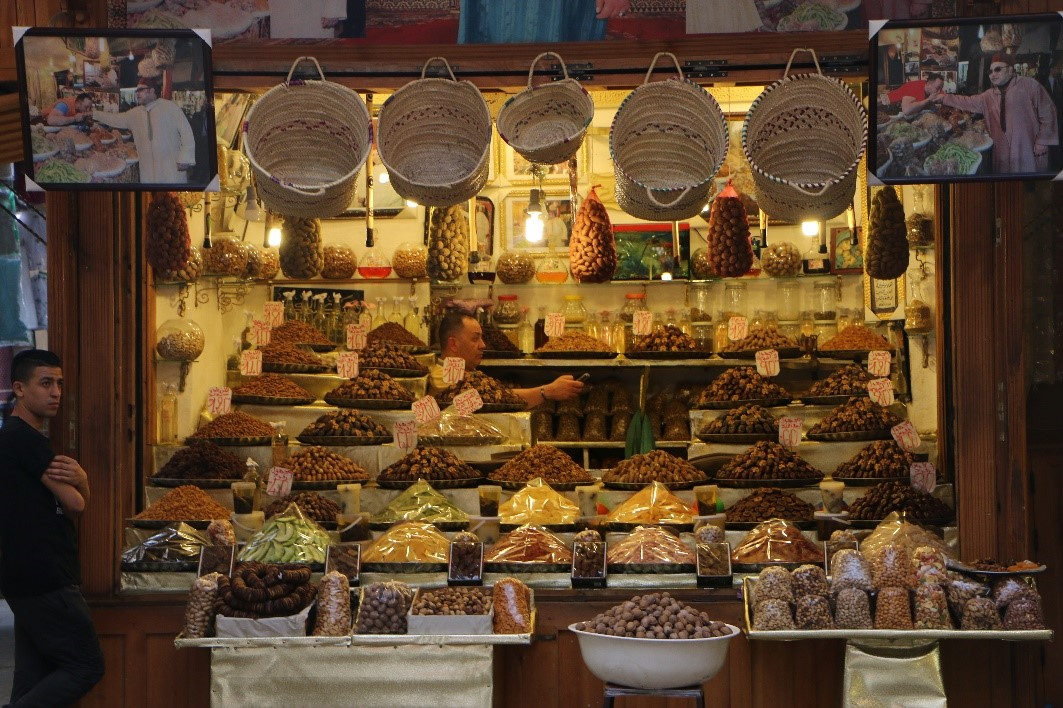 A date seller's sotrefront in a Moroccan medina (market)