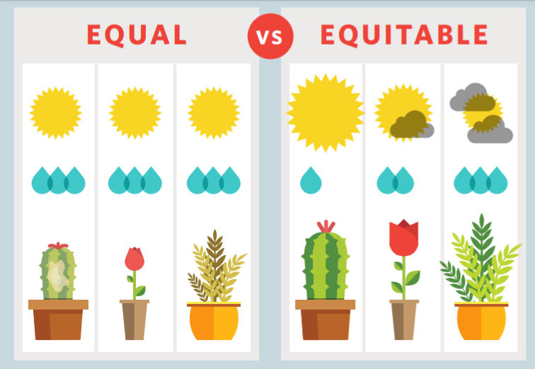 An infographic showing equal care of a cactus, rose, and fern all receiving the same water and sun, versus equitable care with each plant receiving what they need.