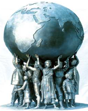 A statue of children supporting a globe.