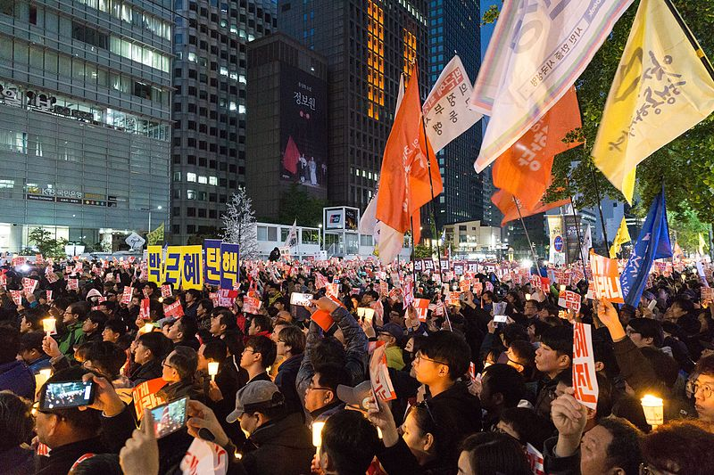 Koreans protest the president in Chonggye Plaza