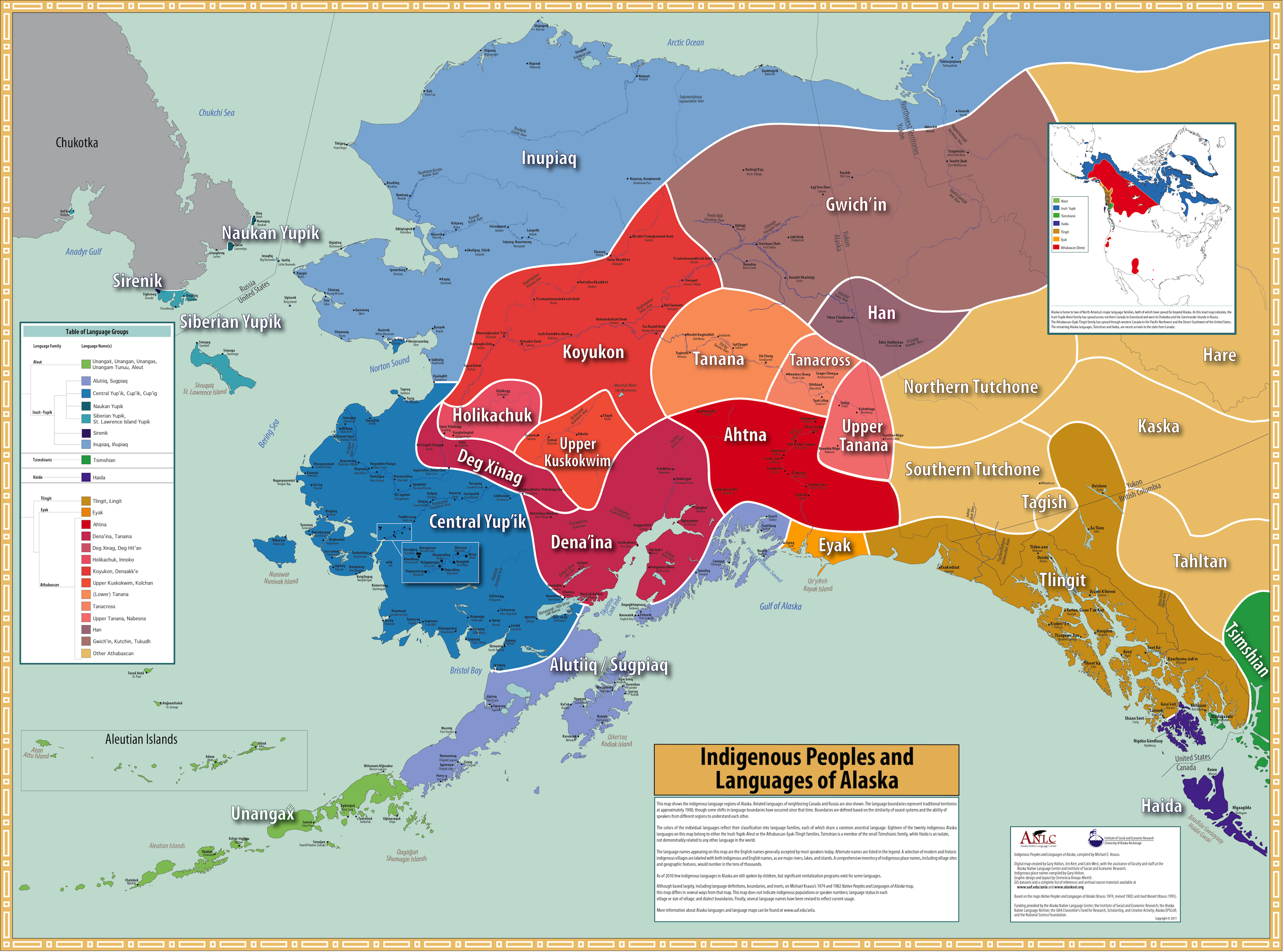 A map of the Indigenous Peoples and Languages of Alaska