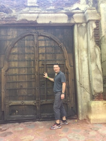 Steve Asper, with one of the many doors that language has opened for him.
