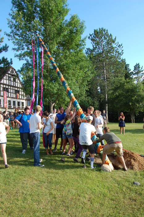 Waldsee villagers and staff raise the village Maibaum (maypole)