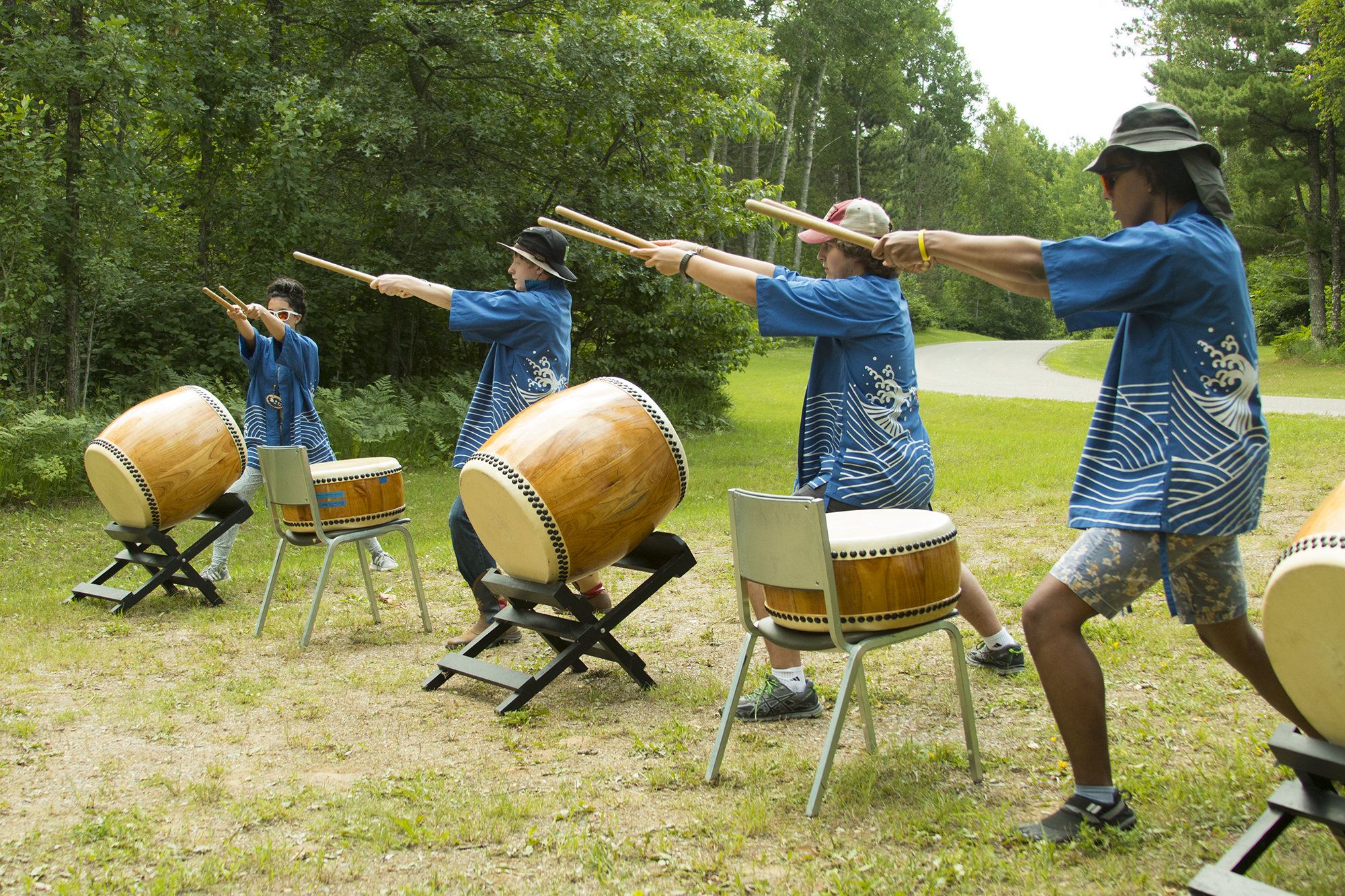 Taiko drumming is a popular activity among villagers of all ages